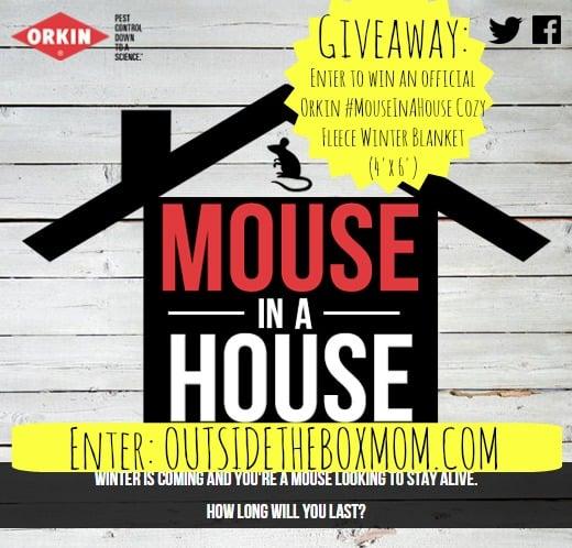 Enter to win an Orkin #MouseInAHouse Cozy Fleece Winter Blankets (4'x6') at OutsideTheBoxMom.com