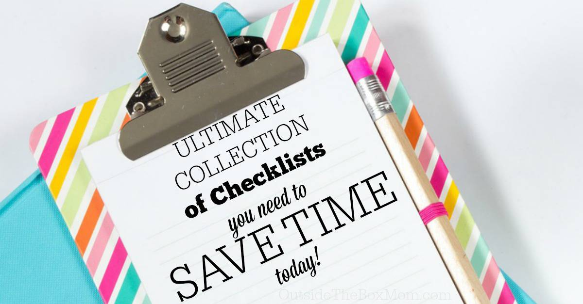 "<em>Checklists include all the steps, activities, or items needed for a given project.  They make it easier to complete tasks and the need to memorize virtually unnecessary.</em> <img src=""http://outsidetheboxmom.com/wp-content/uploads/2015/03/checklists-to-save-time-sq.jpg"" alt=""Checklists include all the steps, activities, or items needed for a given project. They make it easier to complete tasks and the need to memorize virtually unnecessary."" width=""1000"" height=""1000"" class=""aligncenter size-full wp-image-15779"" /> <img class=""aligncenter size-full wp-image-15779"" src=""http://outsidetheboxmom.com/wp-content/uploads/2015/03/checklists-to-save-time-sq.jpg"" alt=""Checklists include all the steps, activities, or items needed for a given project. They make it easier to complete tasks and the need to memorize virtually unnecessary."" width=""1000"" height=""1000"" /><img class=""aligncenter size-full wp-image-15779"" src=""http://outsidetheboxmom.com/wp-content/uploads/2015/03/checklists-to-save-time-sq.jpg"" alt=""Checklists include all the steps, activities, or items needed for a given project. They make it easier to complete tasks and the need to memorize virtually unnecessary."" width=""1000"" height=""1000"" />I find that printable daily routines help me be more efficient, especially when I have a lot of distractions. Tasks that I only complete once a year can cause me to forget all of the parts involved and inadvertently reinvent the wheel.  However, with these eight checklists, I can stay on top of things. <ol> <li><a href=""http://www.travelsmith.com/TravelSmith/US/TravelCenter/guide-packing-checklist/landing-path?redirect=y"" target=""_blank"">Packing</a> :: I've used the same list for over ten years.  I have one for me and one for each child.  You will never forget anything.</li> <li>Cleaning :: I like this <a href=""http://www.realsimple.com/home-organizing/cleaning/daily-cleaning-checklist-00000000000953/index.html"" target=""_blank"">Daily Cleaning Checklist</a> by Real Simple.  It reminds me of how little time it takes for routine maintenance and cleaning.  Moneysavingmom's <a href=""http://moneysavingmom.com/wp-content/uploads/2011/12/2-hour-house-clean1.pdf"" target=""_blank"">2-Hour Holiday Cleaning List</a> also helps me whip a disaster into shape.<a title=""How to Make a Grocery List"" href=""http://outsidetheboxmom.com/2011/11/12/how-to-make-a-grocery-list/"" target=""_blank"">Grocery List</a> ::  Working through my grocery list like the store's layout makes it a breeze.  It also serves as a ""<a href=""http://en.wikipedia.org/wiki/Trigger_list:"" target=""_blank"">trigger list</a>"" for items I may have forgotten.</li> <li><a title=""Back to School"" href=""http://outsidetheboxmom.com/tag/back-to-school/"" target=""_blank"">Back to School</a> :  Everything from preparing for a new school, school supplies, and how to end the year right.</li> <li><a href=""http://printables.yourway.net/holiday-printables/"" target=""_blank"">Holiday Planning</a> :: Thanksgiving and Christmas lists for shopping, cooking, gift-giving, and more.</li> <li><a href=""http://printables.yourway.net/birthday-party-planner/"" target=""_blank"">Birthday Party Planner</a> :: Planning the theme, venue, guests, and supplies.</li> <li><a href=""http://moneysavingmom.com/2010/12/free-customizable-daily-docket-now-available-for-download.html"" target=""_blank"">Daily Routine</a> ::  A daily printable checklist for important tasks, chores, meal planning, health, and more.</li> <li>Meal Planning :: I recommend using Crystal Van Tassel's method in <a title=""How to Meal Plan: A Step by Step Guide for Busy Moms {Review}"" href=""http://outsidetheboxmom.com/2013/02/26/how-to-meal-plan-step-by-step-guide-for-busy-moms/"" target=""_blank"">How to Meal Plan: A Step by Step Guide for Busy Moms</a></li> </ol> <h4>What checklist(s) would you add to this list?</h4> <h4 style=""text-align: center;"">Read other posts in the <a title=""31 Days"" href=""http://outsidetheboxmom.com/tag/31-days/"">31 Days to Make Being a Working Mom Easier</a> series.</h4> <a title=""31 Days"" href=""http://outsidetheboxmom.com/tag/31-days/""><img class="" size-full wp-image-6010 aligncenter"" src=""http://outsidetheboxmom.com/wp-content/uploads/2013/09/31-days-to-make-being-a-working-mom-easier.jpg"" alt=""31-days-to-make-being-a-working-mom-easier"" width=""125"" height=""125"" /></a> <p style=""text-align: center;"">Don't miss anything in this series, <strong>SUBSCRIBE:</strong></p> <div id=""mc_embed_signup""><form id=""mc-embedded-subscribe-form"" class=""validate"" action=""//outsidetheboxmom.us8.list-manage.com/subscribe/post?u=d59de7986cdd8b86db1ecb432&id=d4a0eb39a8"" method=""post"" name=""mc-embedded-subscribe-form"" novalidate="""" target=""_blank""> <h2>Enter your email address to get the best time-saving tips and solutions for busy, working moms in your inbox.</h2> <div class=""indicates-required""><span class=""asterisk"">*</span> indicates required</div> <div class=""mc-field-group""><label for=""mce-EMAIL"">Email Address <span class=""asterisk"">*</span> </label> <input id=""mce-EMAIL"" class=""required email"" name=""EMAIL"" type=""email"" value="""" /></div> <div class=""mc-field-group""><label for=""mce-MMERGE11"">First Name <span class=""asterisk"">*</span> </label> <input id=""mce-MMERGE11"" class=""required"" name=""MMERGE11"" type=""text"" value="""" /></div> <div id=""mce-responses"" class=""clear""></div> <!-- real people should not fill this in and expect good things - do not remove this or risk form bot signups--> <div style=""position: absolute; left: -5000px;""><input tabindex=""-1"" name=""b_d59de7986cdd8b86db1ecb432_d4a0eb39a8"" type=""text"" value="""" /></div> <div class=""clear""><input id=""mc-embedded-subscribe"" class=""button"" name=""subscribe"" type=""submit"" value=""Subscribe"" /></div> </form></div> <script src=""//s3.amazonaws.com/downloads.mailchimp.com/js/mc-validate.js"" type=""text/javascript""></script><script type=""text/javascript"">// <![CDATA[ (function($) { window.fnames = new Array(); window.ftypes = new Array();fnames[0]='EMAIL';ftypes[0]='email';fnames[1]='FNAME';ftypes[1]='text';fnames[11]='MMERGE11';ftypes[11]='text';fnames[2]='LNAME';ftypes[2]='text';fnames[3]='MMERGE3';ftypes[3]='text';fnames[4]='MMERGE4';ftypes[4]='text';fnames[5]='MMERGE5';ftypes[5]='text';fnames[6]='MMERGE6';ftypes[6]='text';fnames[7]='MMERGE7';ftypes[7]='text';fnames[8]='MMERGE8';ftypes[8]='text';fnames[9]='MMERGE9';ftypes[9]='text';fnames[10]='MMERGE10';ftypes[10]='text'; }(jQuery)); var $mcj = jQuery.noConflict(true); // ]]></script> <!--End mc_embed_signup-->"