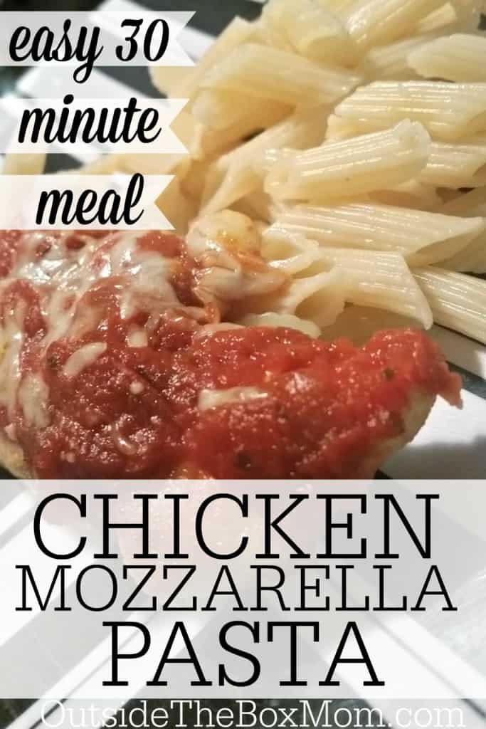 This six ingredient Chicken Mozzarella Pasta comes together in around 30 minutes. It's an easy weeknight meal and kid-friendly dinner.