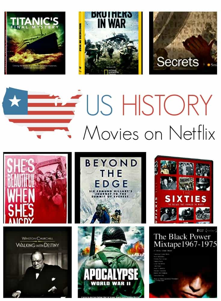 Movies about American history on Netflix. Looking for US History movies on Netflix? There are some great US History titles you can stream on Netflix. These films and TV documentaries are a great learning resource any time of year.