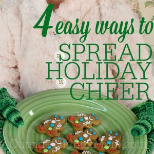 Are you looking for ways to spread holiday cheer this year? It doesn't have to be expensive, hard, or time-consuming. Try one of these four ways and see if you don't get some holiday cheer in return.