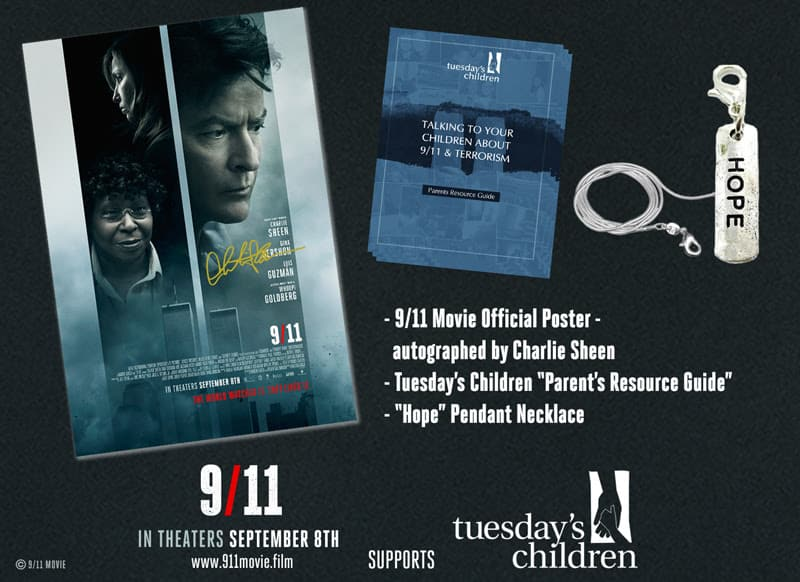 Charlie Sheen Autographed Poster and Gift Pack From 9/11 Film