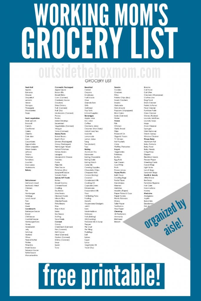 The Ultimate Working Mom Grocery List | Free Printable Grocery List