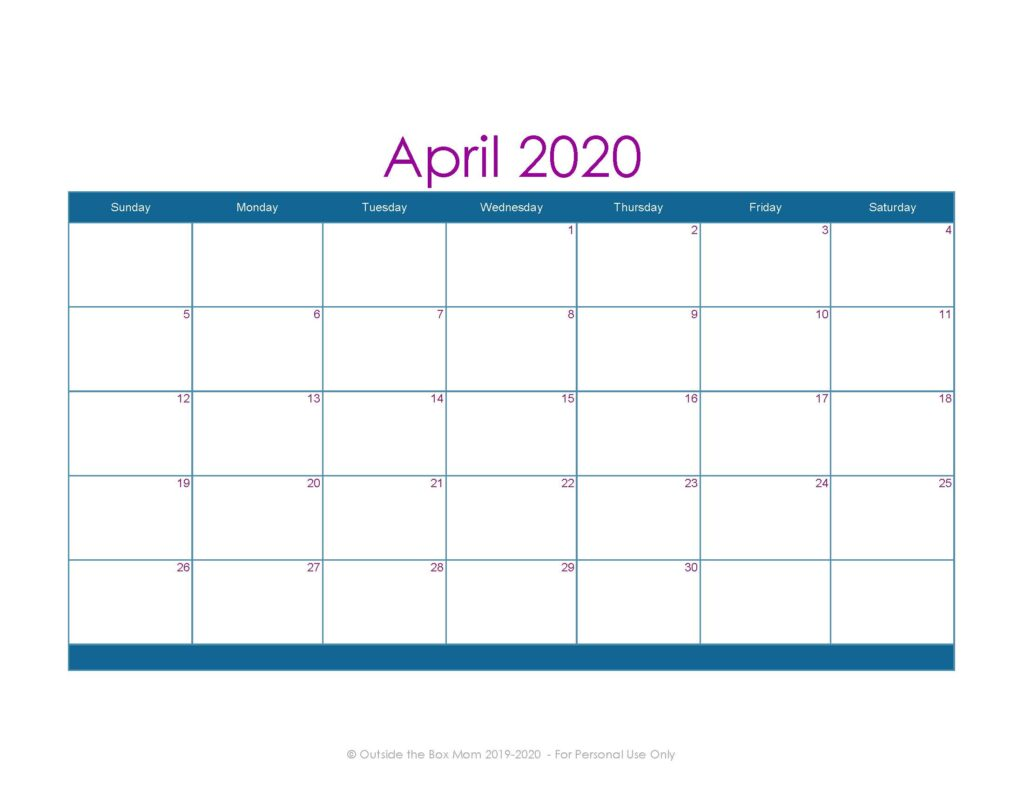 April 2020 Printable Calendar for Moms